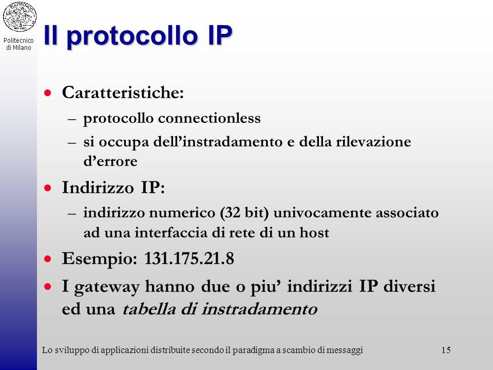 Il protocollo IP Caratteristiche: Indirizzo IP: Esempio: 131.175.21.8