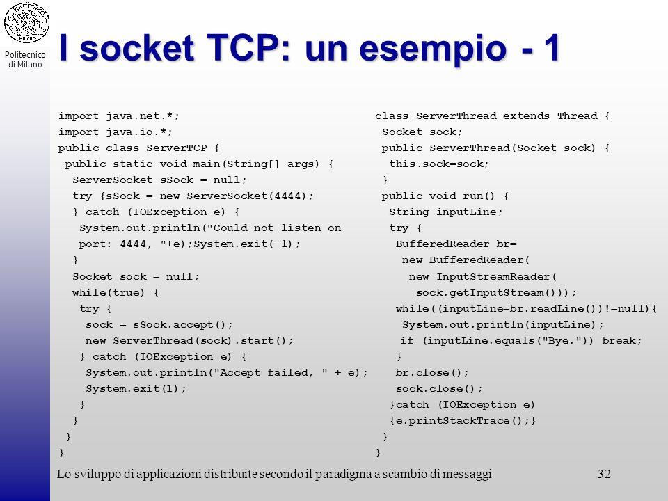 I socket TCP: un esempio - 1