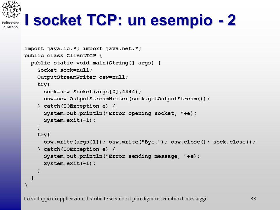 I socket TCP: un esempio - 2