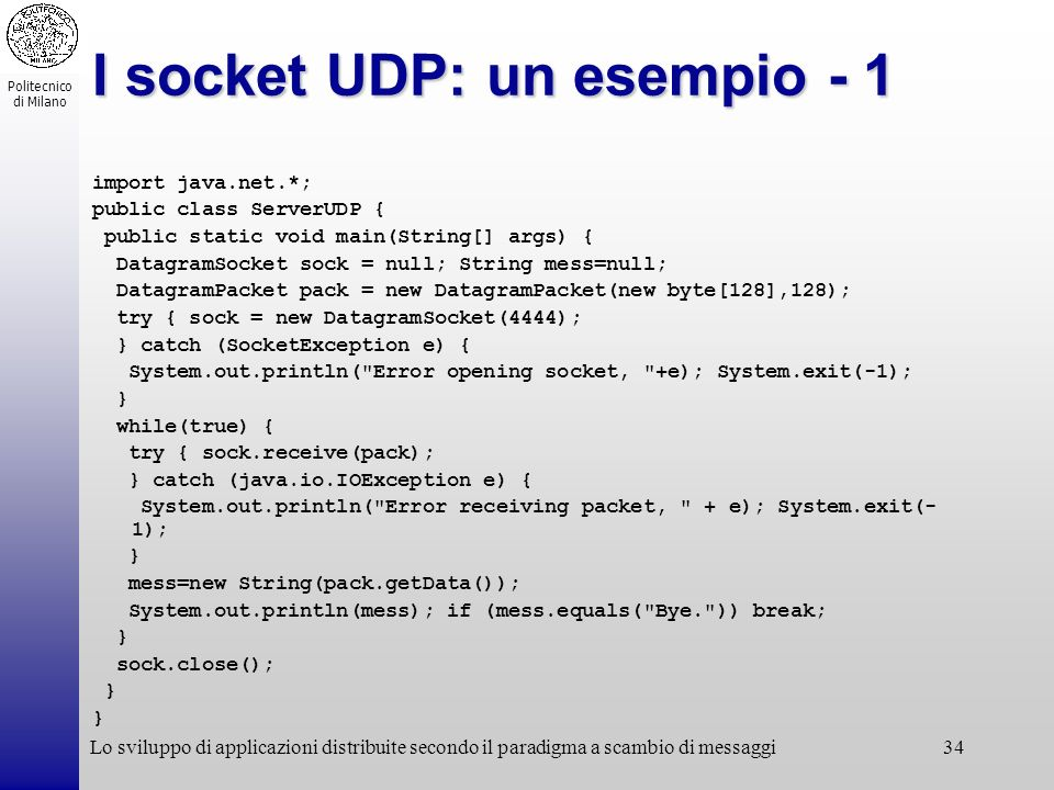 I socket UDP: un esempio - 1