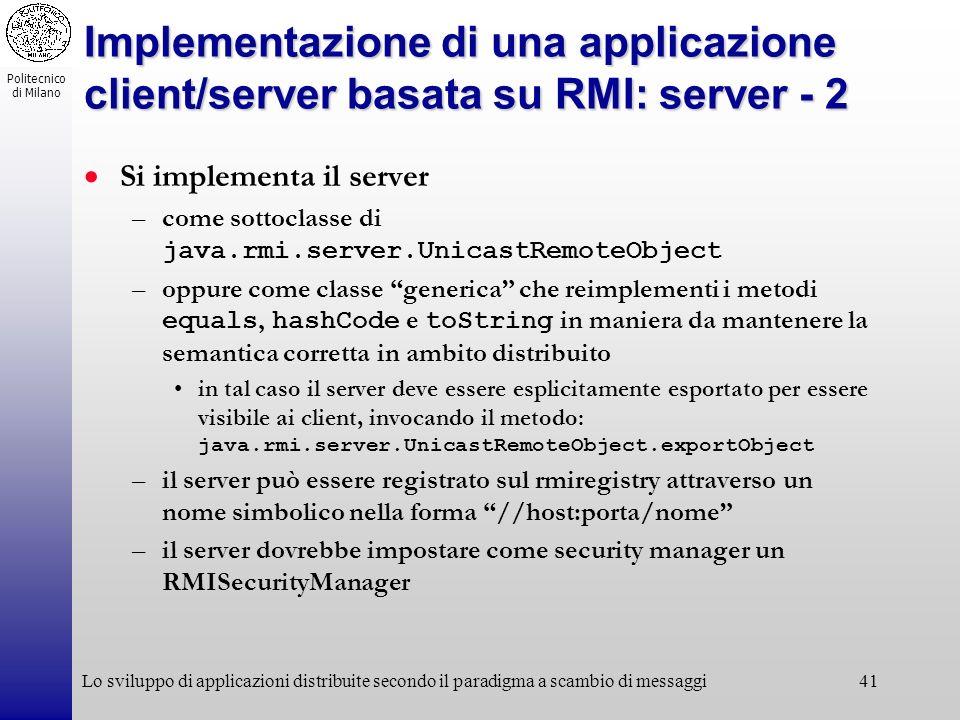 Implementazione di una applicazione client/server basata su RMI: server - 2