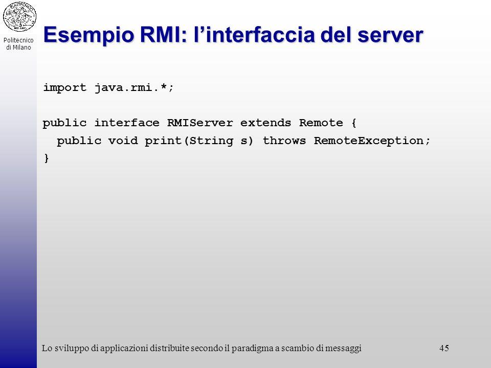Esempio RMI: l'interfaccia del server