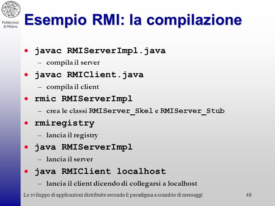 Esempio RMI: la compilazione