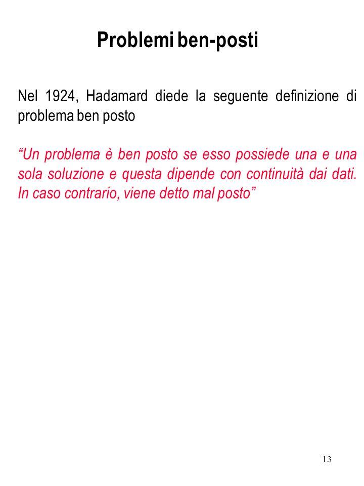 Problemi ben-posti Nel 1924, Hadamard diede la seguente definizione di problema ben posto.