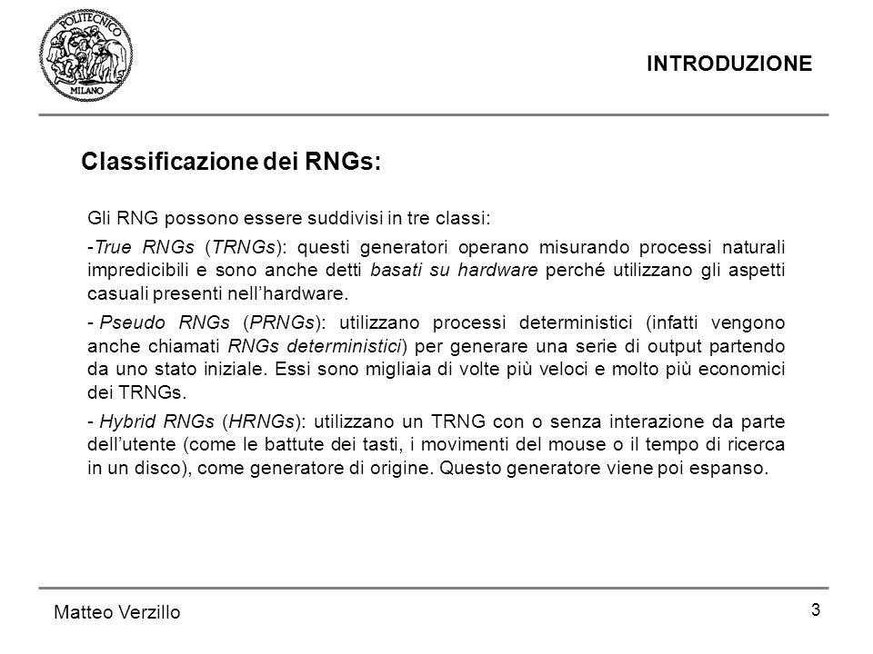 Classificazione dei RNGs: