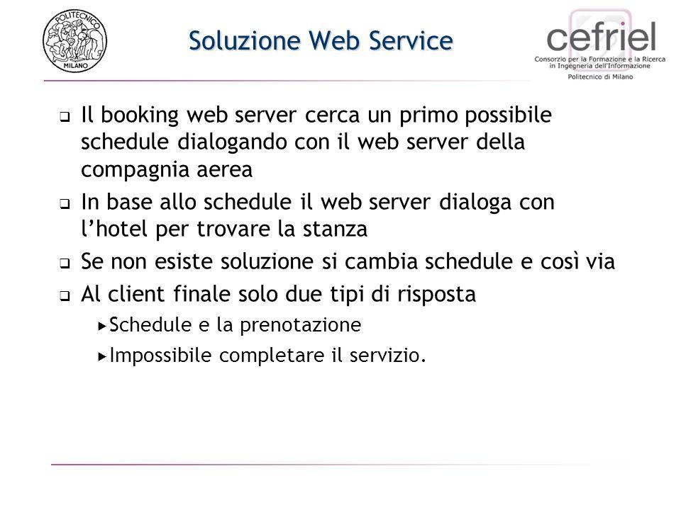 Soluzione Web ServiceIl booking web server cerca un primo possibile schedule dialogando con il web server della compagnia aerea.