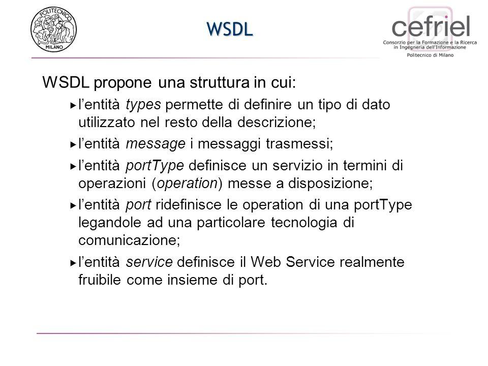 WSDL WSDL propone una struttura in cui: