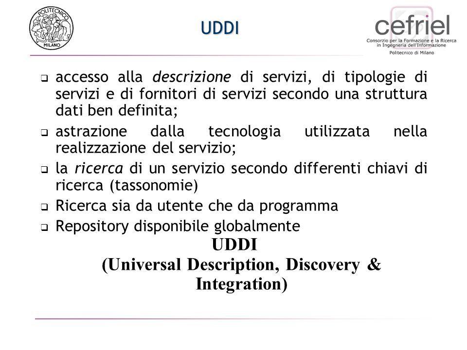 UDDI (Universal Description, Discovery & Integration)