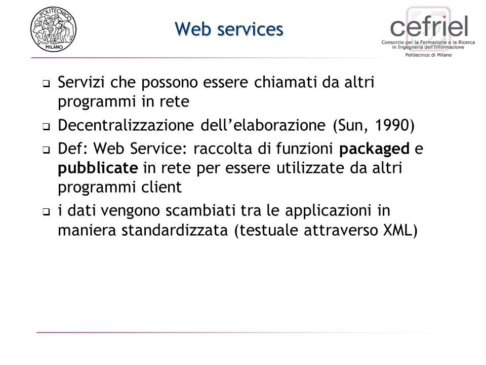 Web services Servizi che possono essere chiamati da altri programmi in rete. Decentralizzazione dell'elaborazione (Sun, 1990)