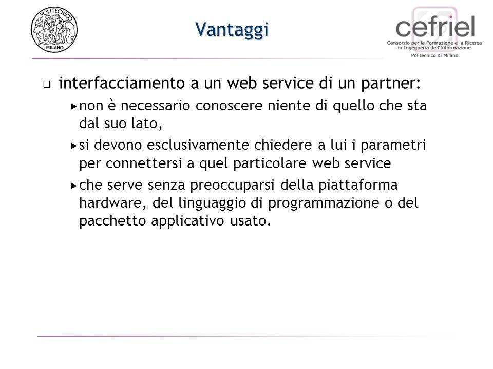 Vantaggi interfacciamento a un web service di un partner: