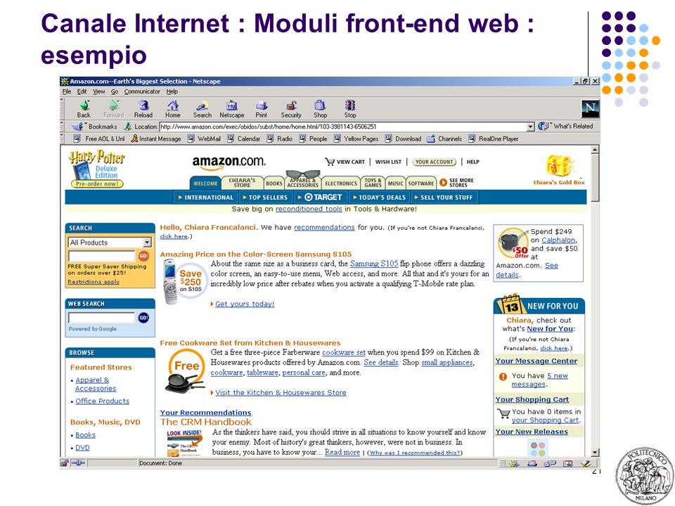 Canale Internet : Moduli front-end web : esempio