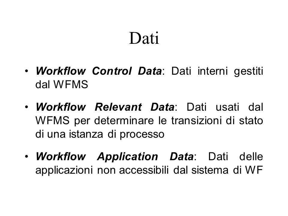 Dati Workflow Control Data: Dati interni gestiti dal WFMS