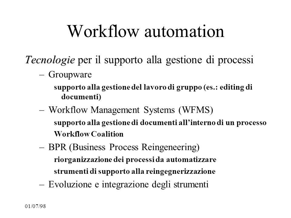 Workflow automation Tecnologie per il supporto alla gestione di processi. Groupware.