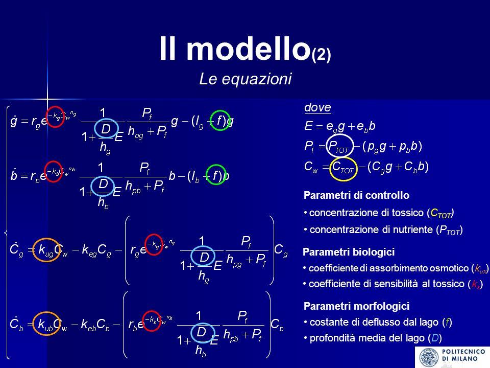 Il modello(2) Le equazioni Parametri di controllo