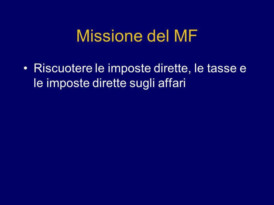 Missione del MF Riscuotere le imposte dirette, le tasse e le imposte dirette sugli affari 8