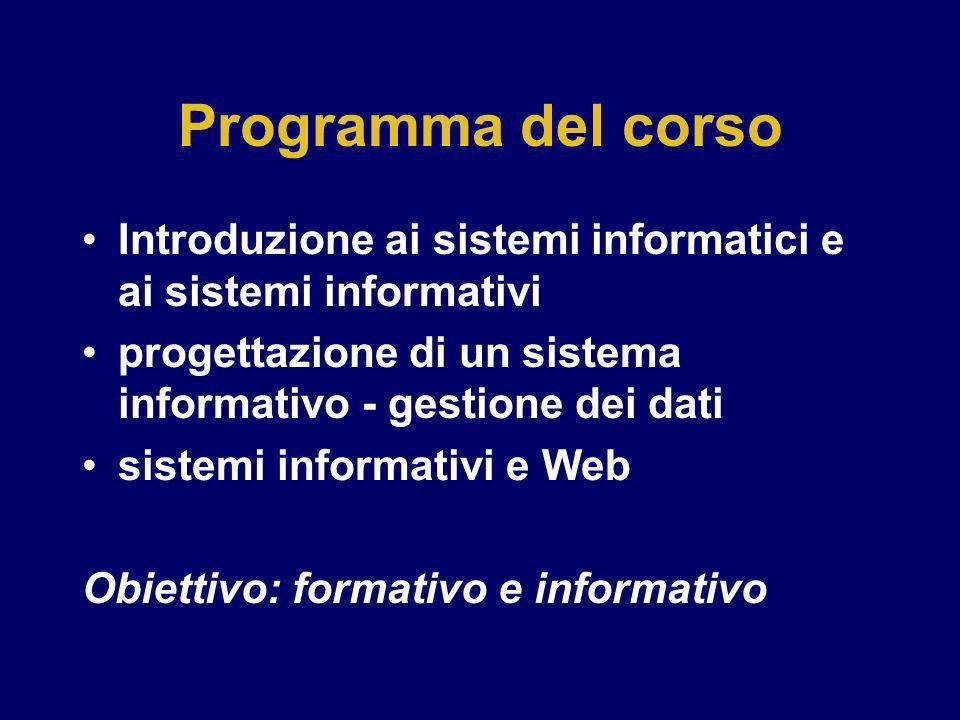 Programma del corso Introduzione ai sistemi informatici e ai sistemi informativi. progettazione di un sistema informativo - gestione dei dati.