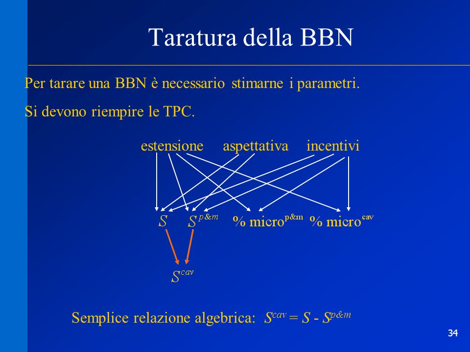 Taratura della BBN Per tarare una BBN è necessario stimarne i parametri. Si devono riempire le TPC.