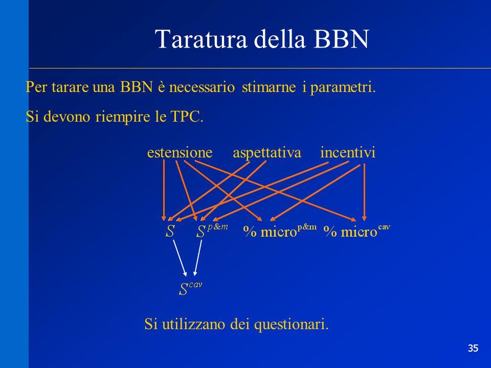 Taratura della BBNPer tarare una BBN è necessario stimarne i parametri. Si devono riempire le TPC. estensione.