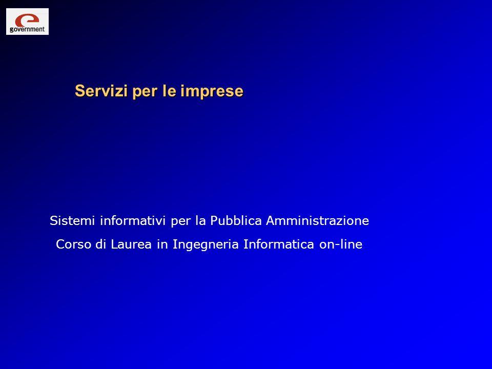Servizi per le imprese Sistemi informativi per la Pubblica Amministrazione.