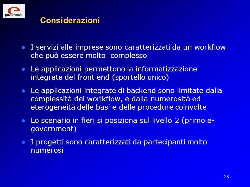 Considerazioni I servizi alle imprese sono caratterizzati da un workflow che può essere molto complesso.