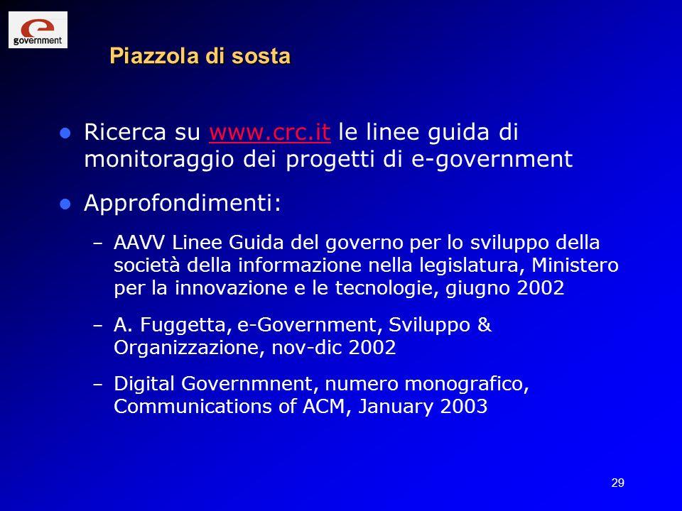 Piazzola di sosta Ricerca su www.crc.it le linee guida di monitoraggio dei progetti di e-government.