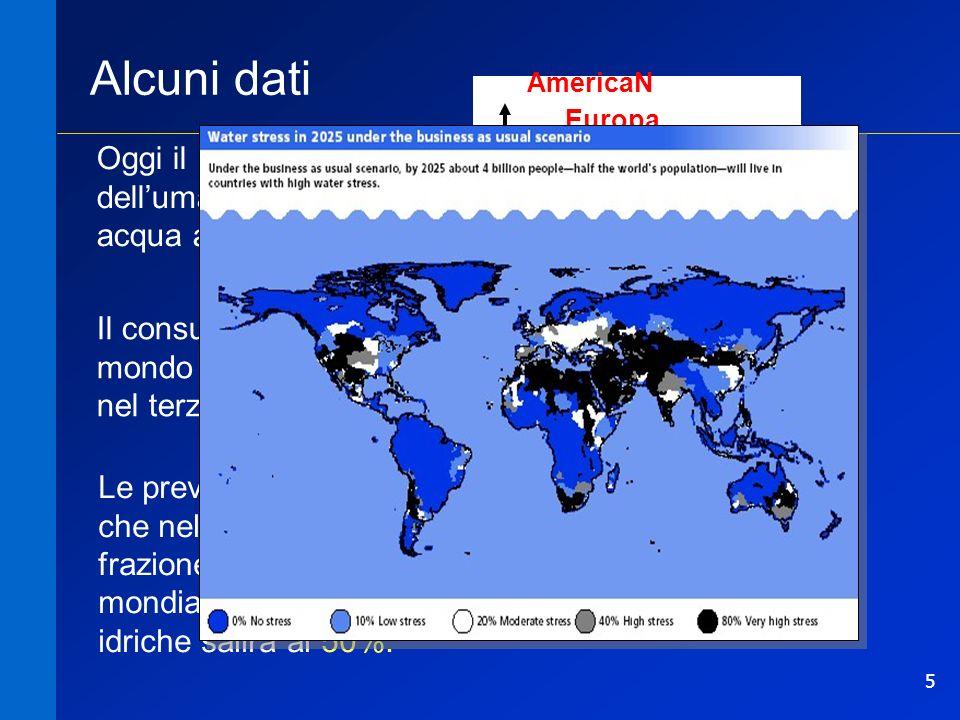 Alcuni dati Oggi il 30% dell'umanità non ha acqua a sufficienza.