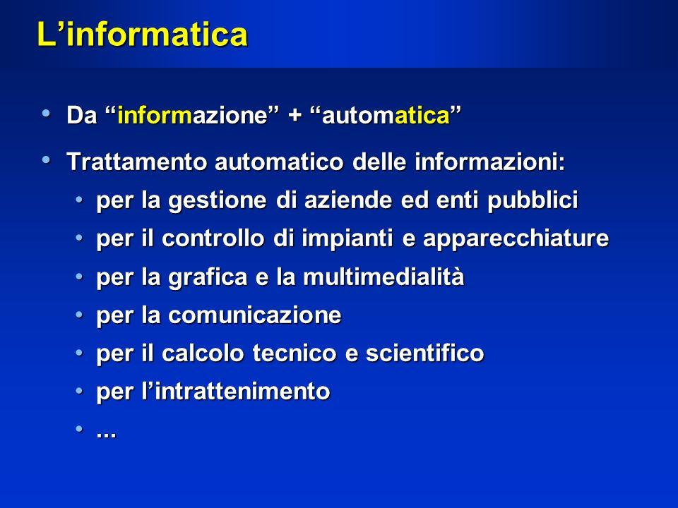 L'informatica Da informazione + automatica