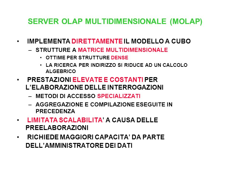 SERVER OLAP MULTIDIMENSIONALE (MOLAP)