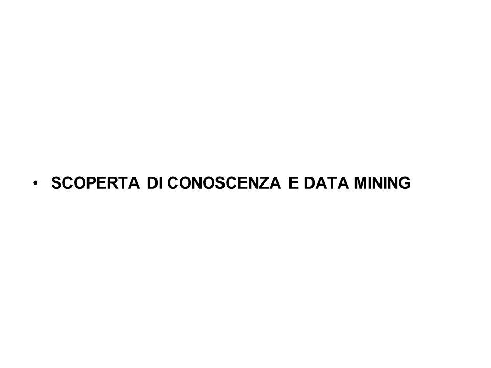 SCOPERTA DI CONOSCENZA E DATA MINING