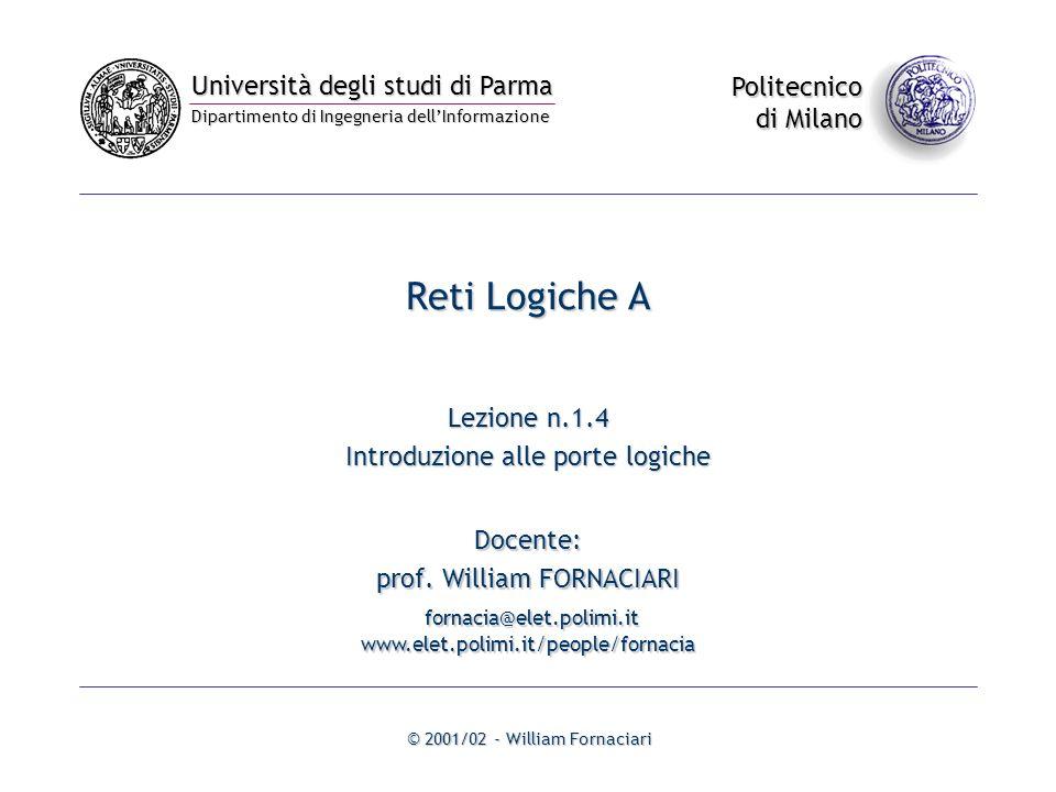 Reti Logiche A Lezione n.1.4 Introduzione alle porte logiche