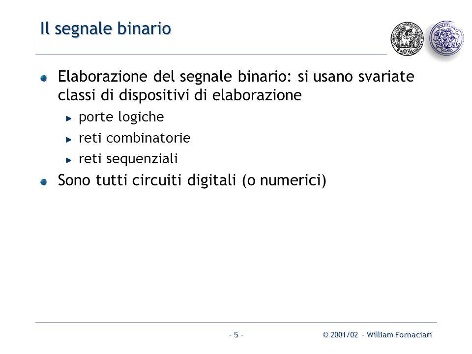 Il segnale binario Elaborazione del segnale binario: si usano svariate classi di dispositivi di elaborazione.