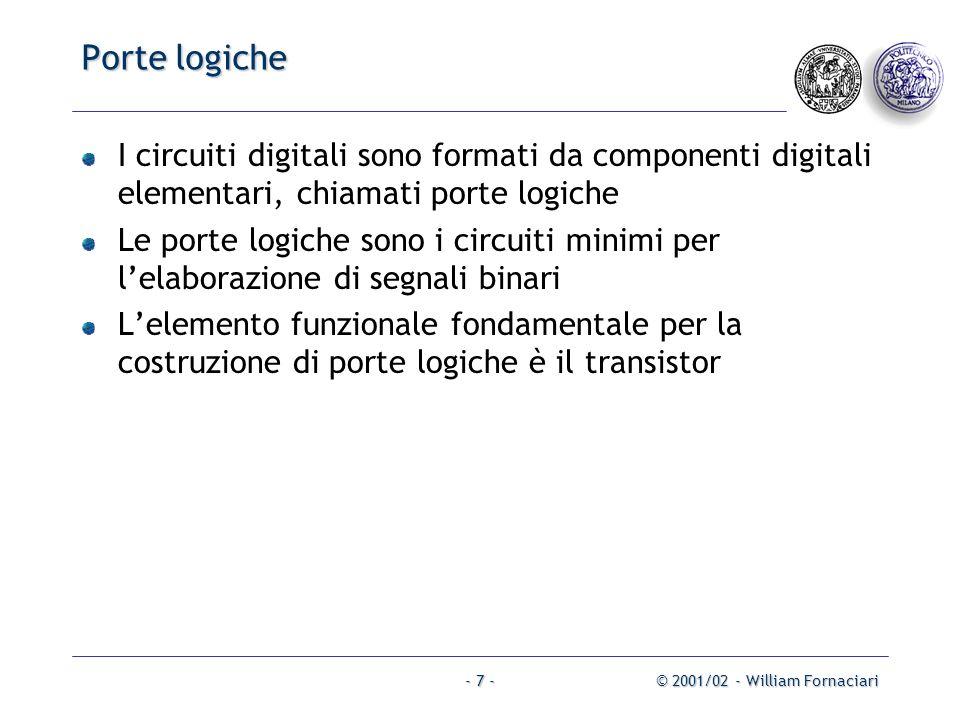 Porte logiche I circuiti digitali sono formati da componenti digitali elementari, chiamati porte logiche.