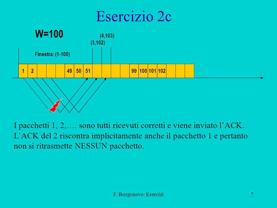 Esercizio 2c W=100. (4,103) (3,102) Finestra: (1-100) 1. 2. 49. 50. 51. 99. 100. 101. 102.