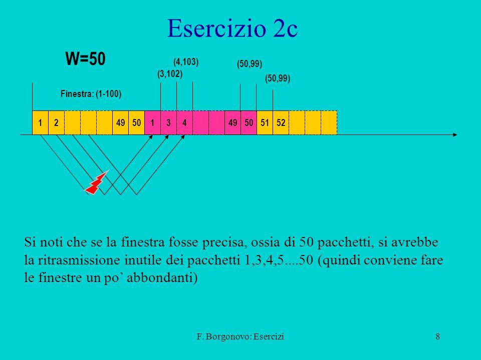 Esercizio 2c W=50. (4,103) (50,99) (3,102) (50,99) Finestra: (1-100) 1. 2. 49. 50. 1. 3.