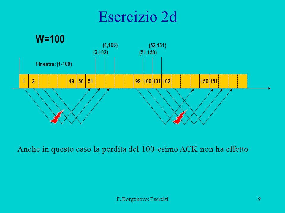 Esercizio 2d W=100. (4,103) (52,151) (3,102) (51,150) Finestra: (1-100) 1. 2. 49. 50. 51.