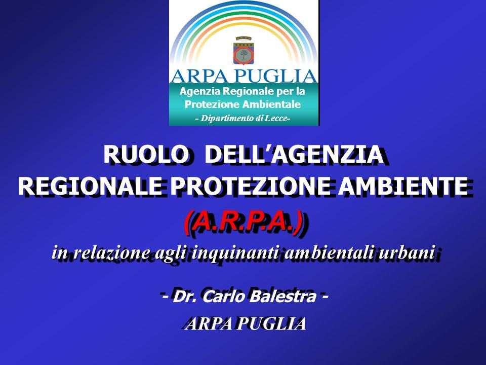 (A.R.P.A.) RUOLO DELL'AGENZIA REGIONALE PROTEZIONE AMBIENTE