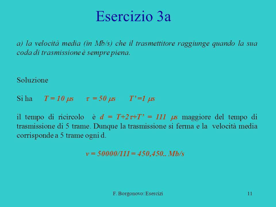 Esercizio 3a a) la velocità media (in Mb/s) che il trasmettitore raggiunge quando la sua coda di trasmissione è sempre piena.