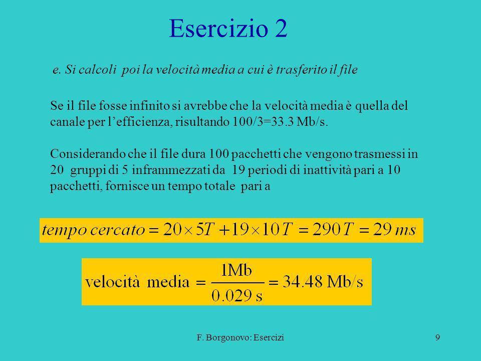 Esercizio 2 e. Si calcoli poi la velocità media a cui è trasferito il file.
