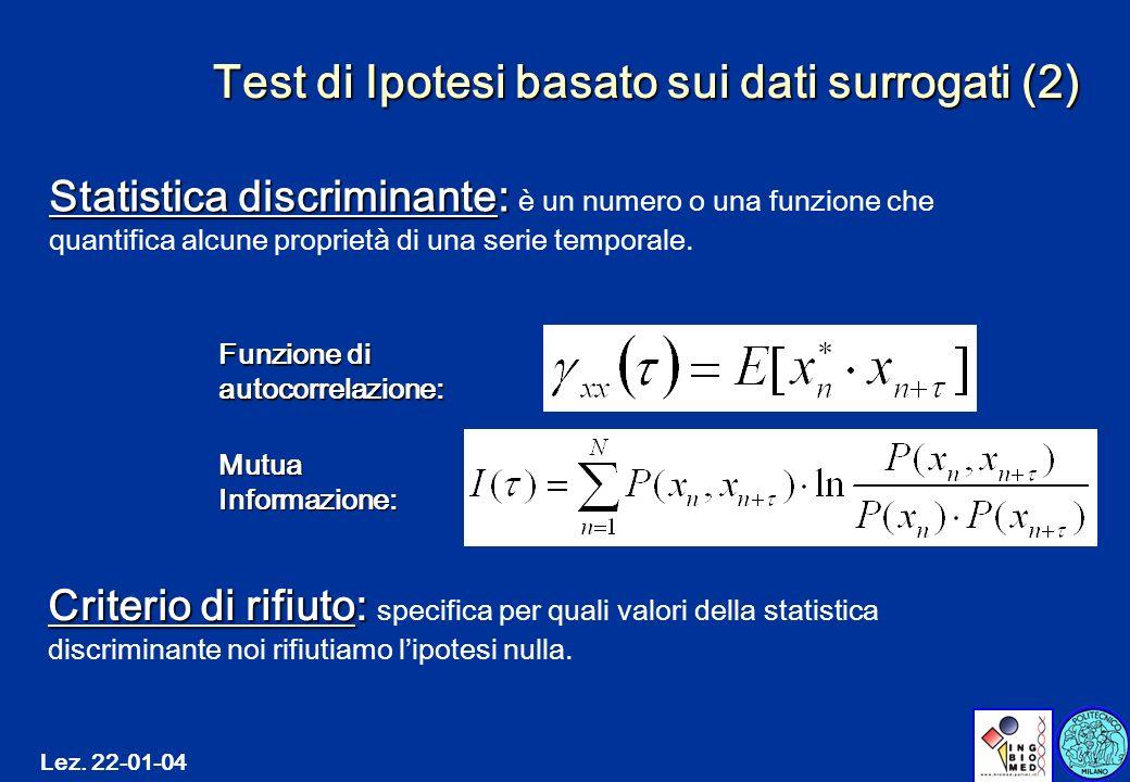 Test di Ipotesi basato sui dati surrogati (2)