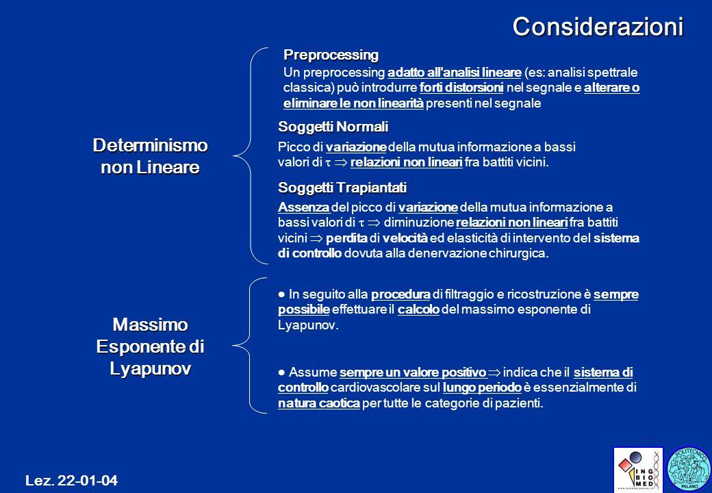 Determinismo non Lineare Massimo Esponente di Lyapunov