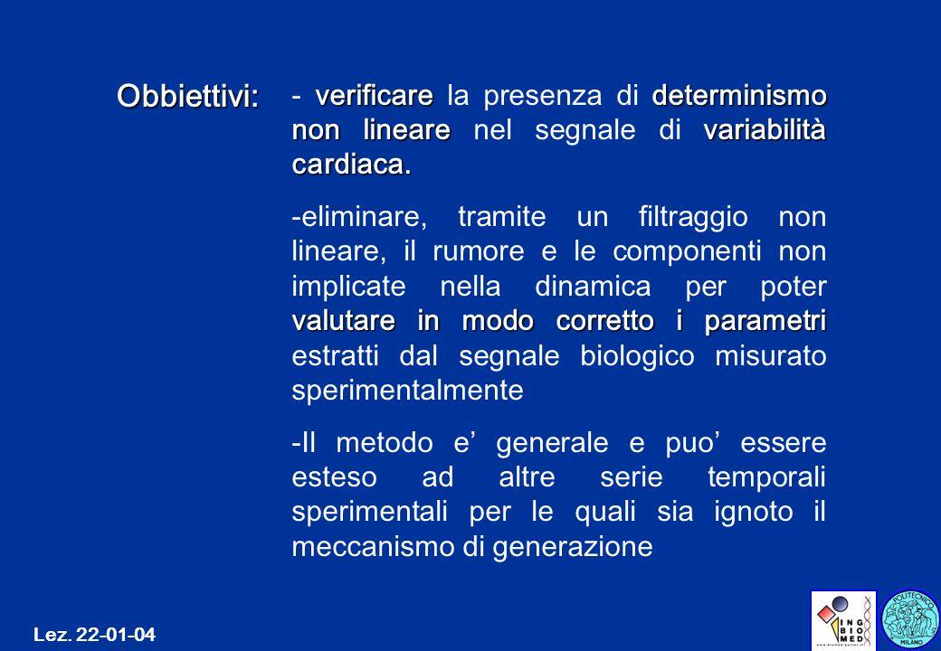 Obbiettivi: - verificare la presenza di determinismo non lineare nel segnale di variabilità cardiaca.