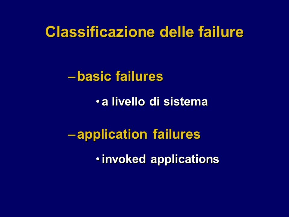 Classificazione delle failure