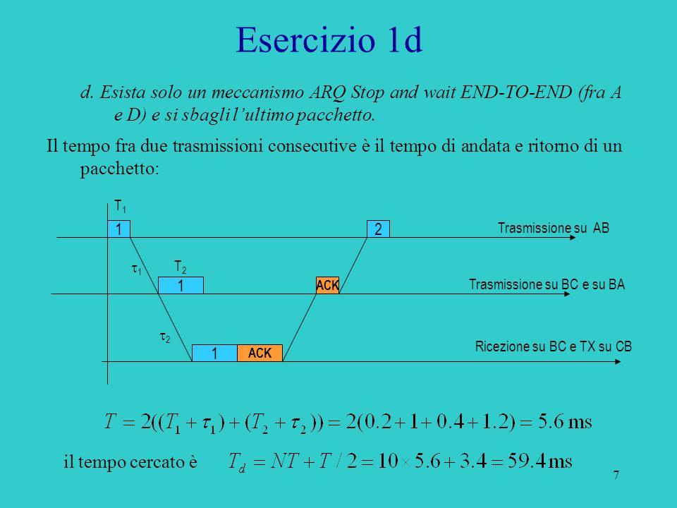 Esercizio 1d d. Esista solo un meccanismo ARQ Stop and wait END-TO-END (fra A e D) e si sbagli l'ultimo pacchetto.