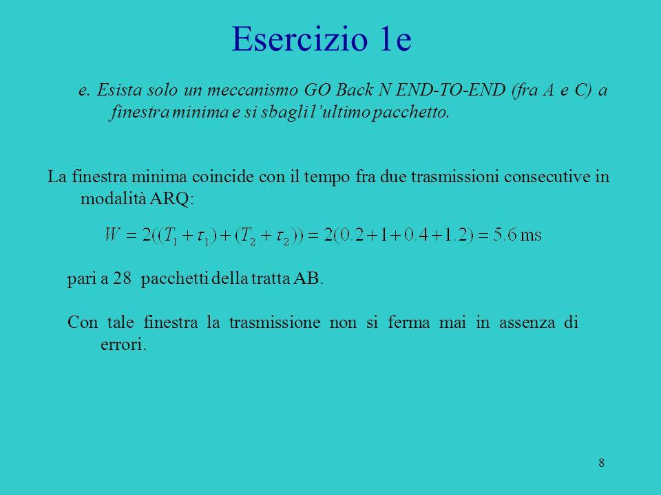 Esercizio 1e e. Esista solo un meccanismo GO Back N END-TO-END (fra A e C) a finestra minima e si sbagli l'ultimo pacchetto.