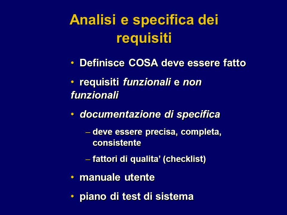 Analisi e specifica dei requisiti