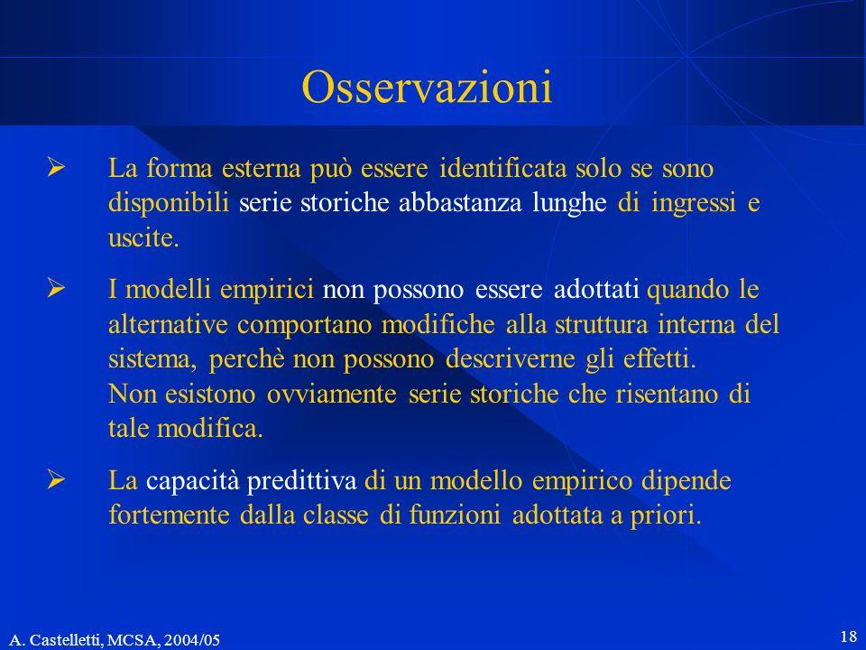 Osservazioni La forma esterna può essere identificata solo se sono disponibili serie storiche abbastanza lunghe di ingressi e uscite.