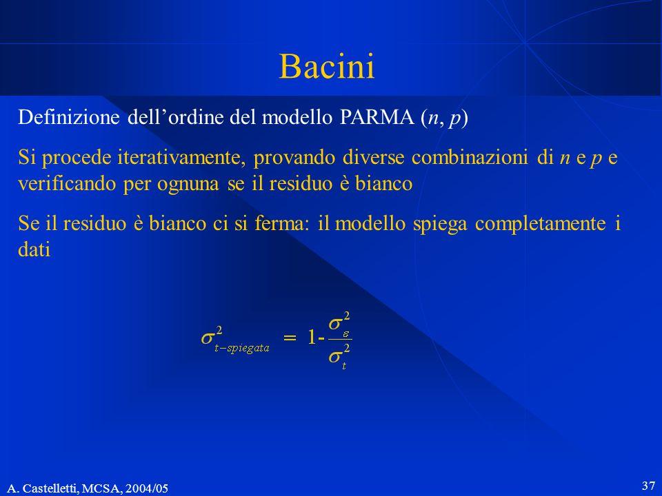 Bacini Definizione dell'ordine del modello PARMA (n, p)