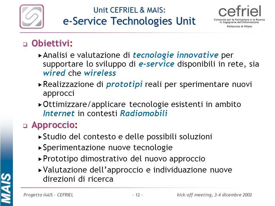 Unit CEFRIEL & MAIS: e-Service Technologies Unit
