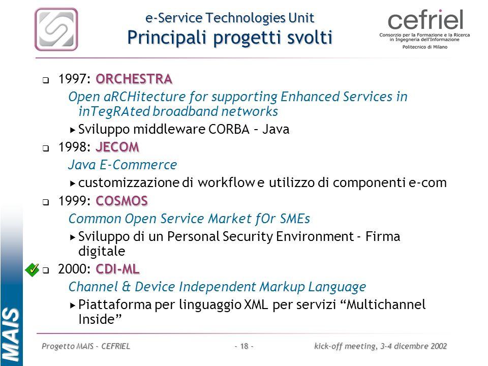 e-Service Technologies Unit Principali progetti svolti