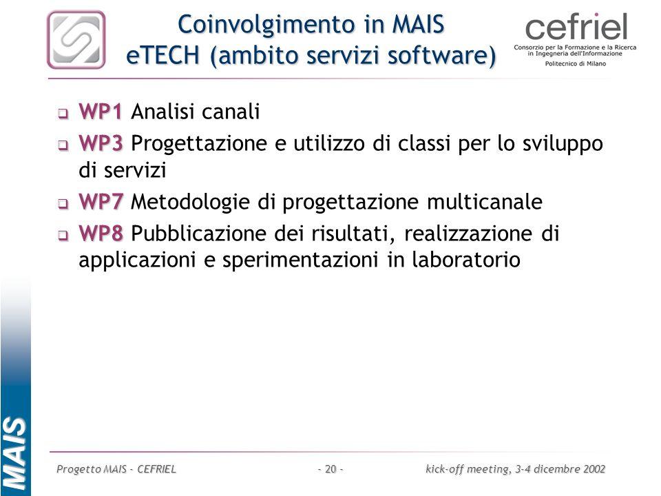 Coinvolgimento in MAIS eTECH (ambito servizi software)